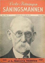 J.L. Saxon på omslaget till sin egen tidning, Såningsmannen, nr. 8, 1959.