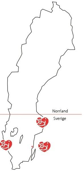sverigekarta med stockholm, göteborg och gotland utmärkta med hjärtas logga